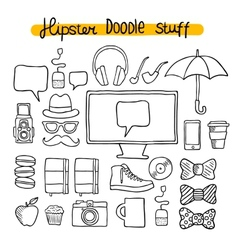 Hipster design doodle elements vector image