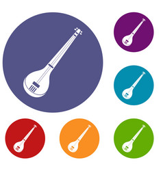 indian guitar icons set vector image vector image