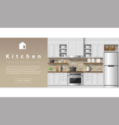 Interior design Modern kitchen background 2 vector