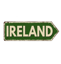 Ireland vintage rusty metal sign vector