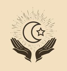 Islam star and crescent symbol vector