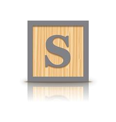 letter S wooden alphabet block vector image