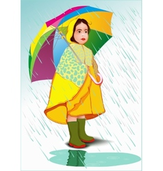 Little girl under umbrella vector image