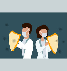 male and female doctors with sield again vector image