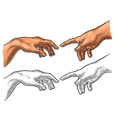 Male finger pointing touch god hand creation vector