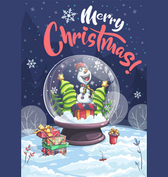 merry christmas snowman christmas tree in vector image