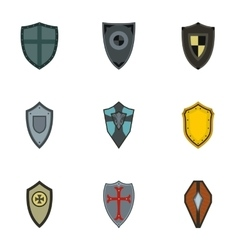 Military shieldd icons set flat style vector