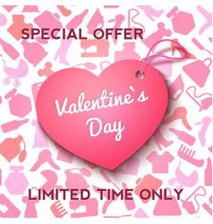 Pink label heart for valentine s day offer and vector