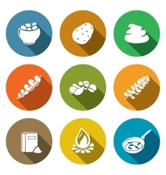 Potato products Icons Set vector