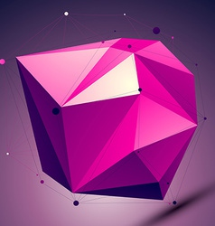 Purple asymmetric 3D abstract object with lines vector
