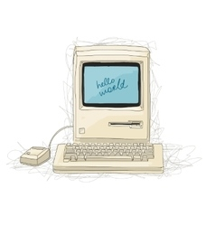 Retro computer sketch for your design vector image