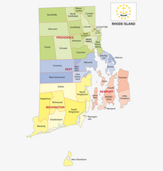 rhode island county and city map with flag vector image