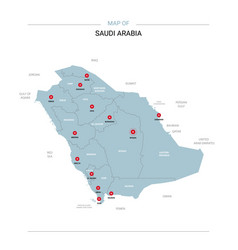 Saudi arabia map with red pin vector