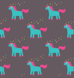 Seamless pattern with a cute unicorn vector