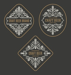 Set of craft beer and microbrewery emblems vector image
