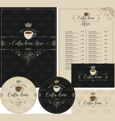 set of design elements for coffee house with crown vector image