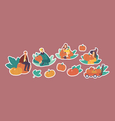 set stickers family characters picking pumpkins vector image