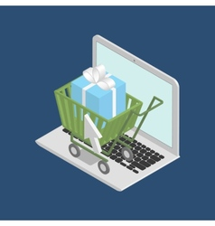 Shopping cart on laptop vector image