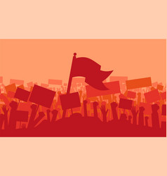 silhouette cheering or riot protesting crowd vector image