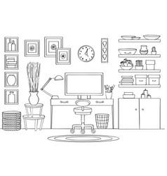 Sketch of home office room interior vector