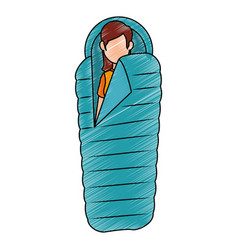 Sleeping camping isolated vector