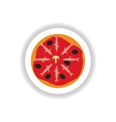 Stylish paper sticker Pizza with salmon and olives vector