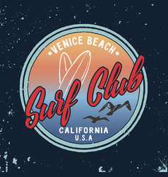 Summer surf club retro badge vector