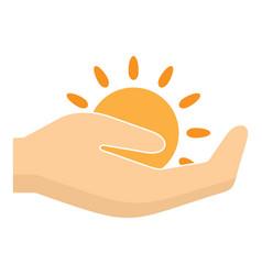 Sun in hand logo flat style vector