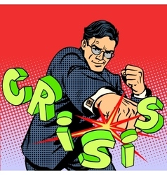 Super businessman hero against crisis business vector image