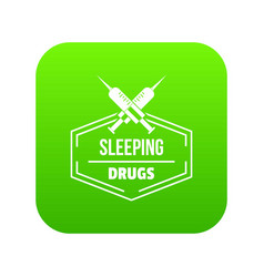 syringe drug icon green vector image