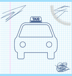 taxi car line sketch icon isolated on white vector image