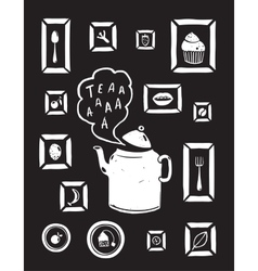 Teapot Drinking Tea and Cooking Art Frames on vector image