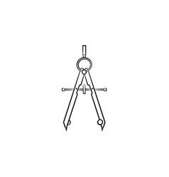 Technical compass hand drawn sketch icon vector