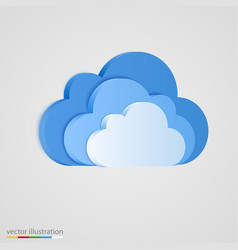 Three layer of blue clouds vector