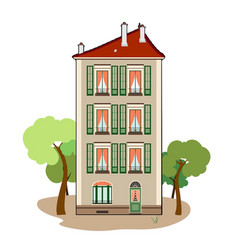 Three storey building vector