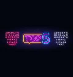 top 5 neon text top five neon sign design vector image