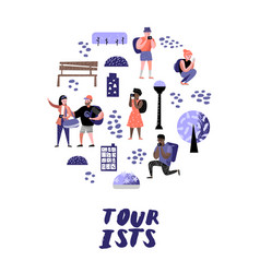 traveling people in trip tourist with gadget vector image