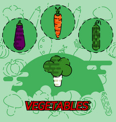 Vegetables flat concept icons vector