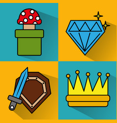 Video game icons set entertainment play vector