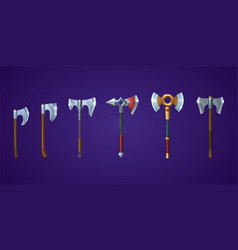 Viking axes for medieval battle game vector