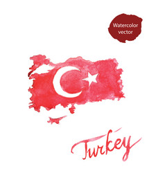 watercolor red turkish flag and map vector image