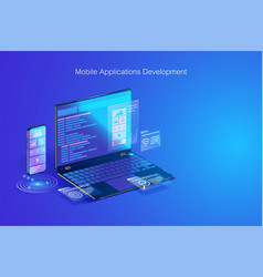 web development application design coding and vector image