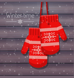 Winter knitted mittens on vector