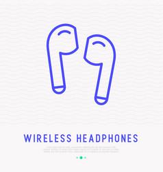 Wireless earphones thin line icon vector