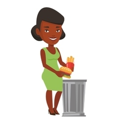 Woman throwing junk food vector image