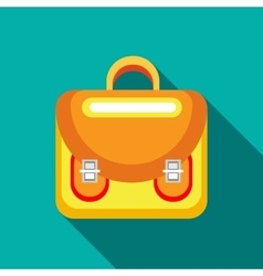 Yellow backpack icon flat style vector image