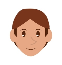 Young face guy brown hair smile vector