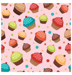 Colorful cupcakes pattern vector image vector image