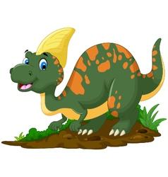cute Dinosaur Parasaurolophus cartoon posing vector image vector image