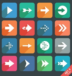 Arrow sign Flat icon set vector image